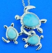 sea turtle family larimar and sterling silver