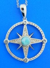 terling silver and larimar compass rose pendant