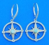 sterling silver & larimar compass rose dangle earrings