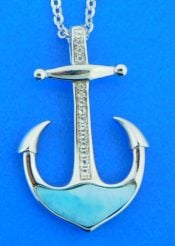 sterling silver and larimar anchor pendant