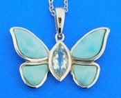 sterling silver & larimar butterfly pendant