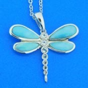 sterling silver & larimar dragonfly pendant