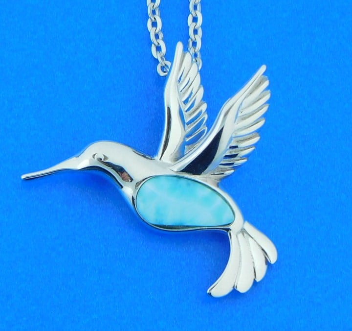 Larimar Hummingbird Necklace with Sterling Hummingbird Charms and Sterling Chain
