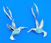 sterling silver & larimar hummingbird earrings