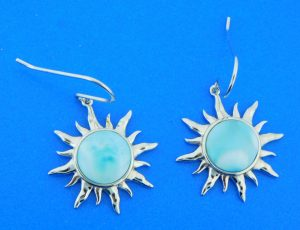 sterling silver & larimar sun dangle earrings
