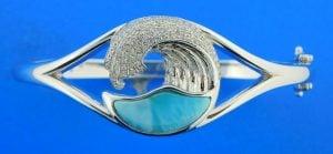 sterling silver & larimar wave bangle bracelet