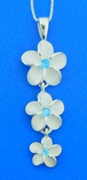 alamea triple plumeria pendant sterling silver
