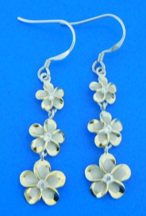 sterling silver 2-tone plumeria dangle earrings