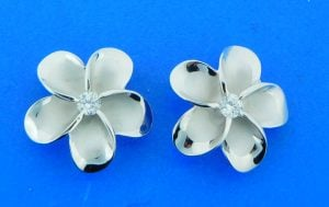 sterling silver plumeria post earrings