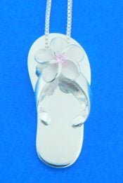 flip flop plumeria sterling silver pendant alamea