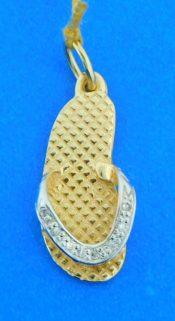 14k sandal diamond pendant 2-tone