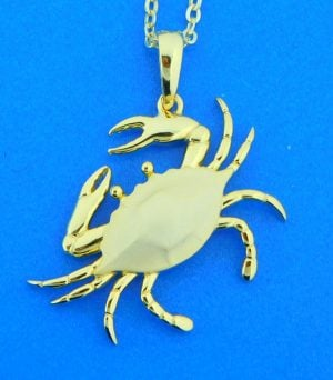 gold plated sterling silver blue crab pendant