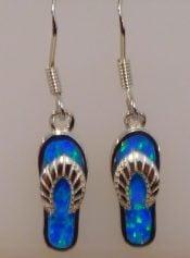 sterling silver flip flop opal earrings