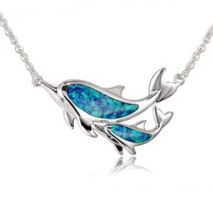 sterling silver dolphin opal necklace