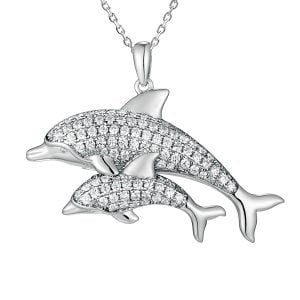 alamea dolphin mother & baby pendant sterling silver