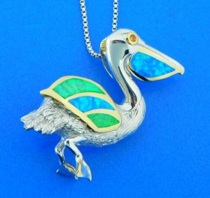sterling silver kovel pelican pendant