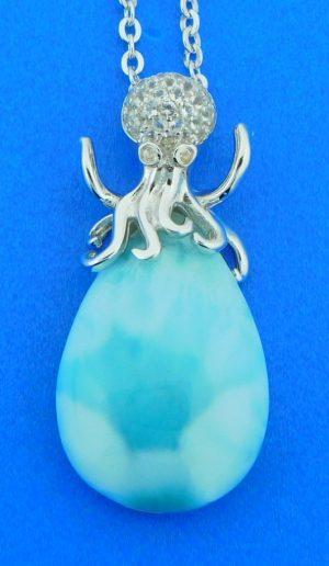 octopus larimar pendant