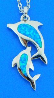 sterling silver & opal alamea dolphin pendant