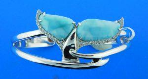 alamea whale tail larimar & sterling silver bracelet