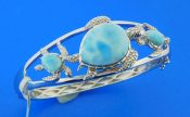 sterling silver sea turtle larimar bracelet