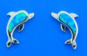 sterling silver & opal dolphin post earring