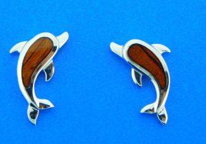sterling silver & koa wood dolphin earrings