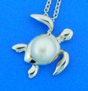 sterling silver alamea sea turtle pearl pendant