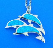 sterling silver dolphin opal pendant