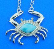 sterling silver & larimar crab pendant