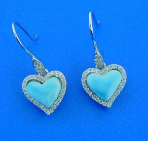 larimar heart dangle earrings
