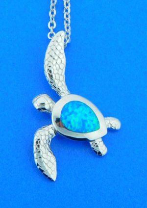 alamea sterling silver & opal turtle pendant