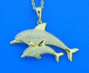 alamea sterling silver gold plated dolphin pendant