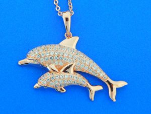 alamea sterling silver pink gold plated dolphin pendant
