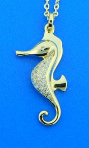 alamea gold plated sterling silver seahorse pendant