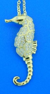sterling silver seahorse gold plated pendant