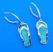 sterling silver & larimar flip flop earrings