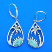 larimar palm tree earrings