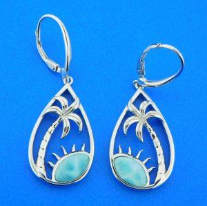 larimar palm tree earrings