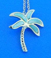 sterling silver & larimar palm tree pendant