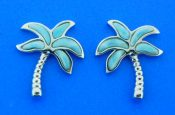 sterling silver & larimar palm tree earrings