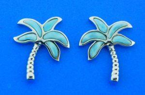 sterling silver & larimar palm tree earrings