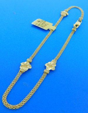 14k plumeria ankle bracelet