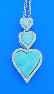 sterling silver & larimar heart necklace