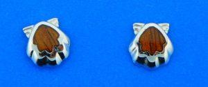 sterling silver koa wood shell earrings