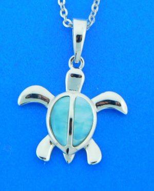 alamea turtle pendant sterling silver & larimar
