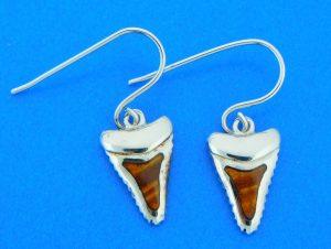shark tooth earrings sterling silver