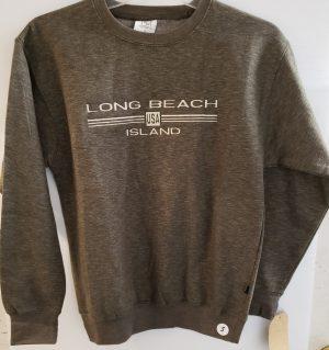 long beach island embroidered crew neck sweat shirt