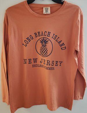 LBI Ladies Long Sleeve Comfort Colors Tee Shirt, Pineapple, Terracotta