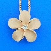 denny wong pink gold plumeria pendant