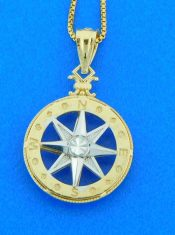 Compass Rose 3d Pendant, Small 14k 2-tone